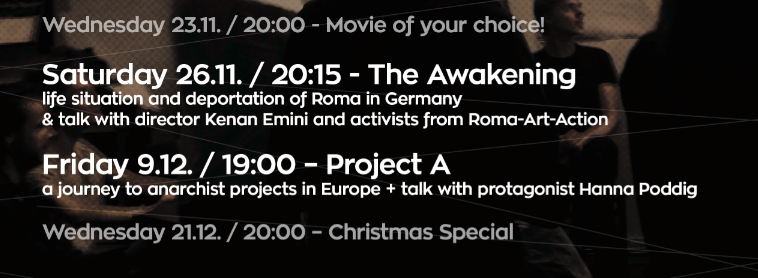 Filmcafé Onderbelicht: call out & November & December Programme with Roma Art Project & Projekt A!